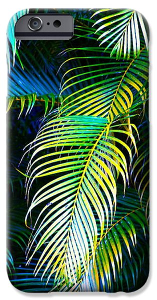 Palm Leaves in Blue iPhone Case by Karon Melillo DeVega
