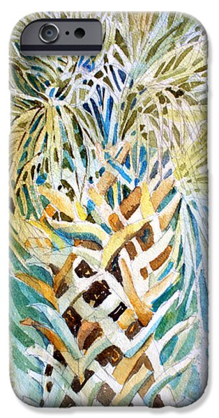 Botanical Drawings iPhone Cases - Palm on Honeymoon Island iPhone Case by Mindy Newman