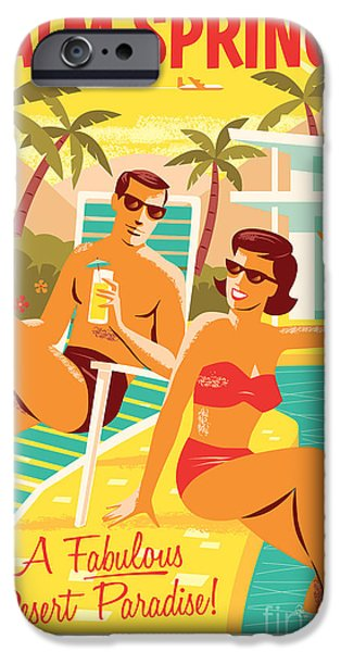 Spring iPhone Cases - Palm Springs Retro Travel Poster iPhone Case by Jim Zahniser