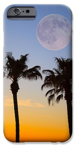 Palm Tree Greeting Cards iPhone Cases - Palm Tree Full Moon Sunset iPhone Case by James BO  Insogna