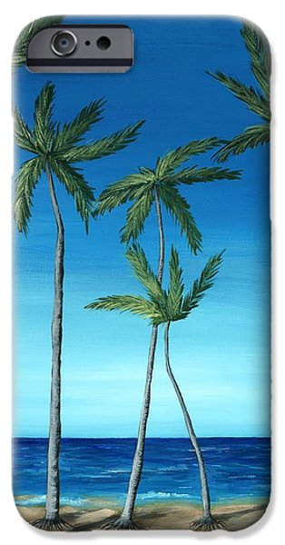 Seascape iPhone Cases - Palm Trees on Blue iPhone Case by Anastasiya Malakhova