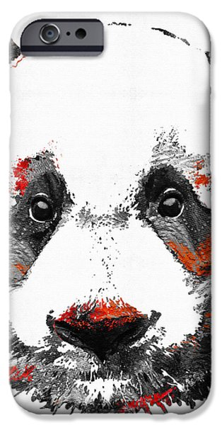 Bear iPhone Cases - Panda Bear Art - Black White Red - By Sharon Cummings iPhone Case by Sharon Cummings