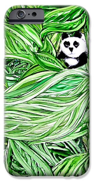 Young Paintings iPhone Cases - Panda Bear Sitting In Leaves Alcohol Inks iPhone Case by Danielle  Parent