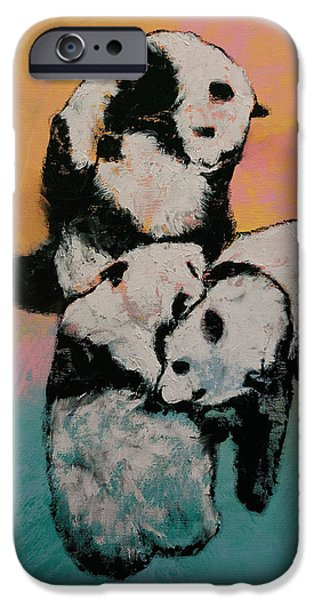 Michael iPhone Cases - Panda Street Fight iPhone Case by Michael Creese