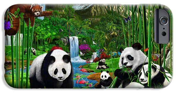 Buterfly iPhone Cases - Pandas Paradise iPhone Case by Gerald Newton