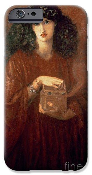 1871 iPhone Cases - Pandora iPhone Case by Dante Charles Gabriel Rossetti