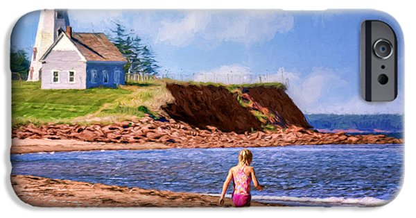 Head Harbour Lighthouse iPhone Cases - Panmure Head - Beach - PEI iPhone Case by Nikolyn McDonald
