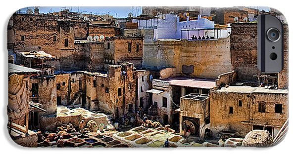 Fez iPhone Cases - Panorama of the Ancient Tannery in Fez Morocco iPhone Case by David Smith