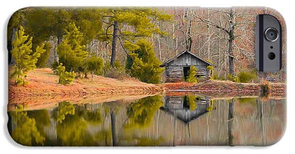 Young iPhone Cases - Panorama of Cabin by the Lake iPhone Case by Shelby  Young