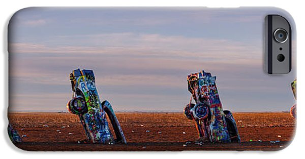 Chip iPhone Cases - Panorama of Cadillac Ranch in the Early Morning - Amarillo Texas Panhandle iPhone Case by Silvio Ligutti
