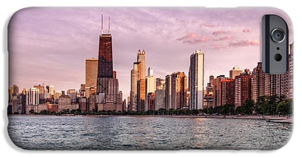 Windy City iPhone Cases - Panorama of Chicago from North Avenue Beach Lincoln Park - Chicago Illinois iPhone Case by Silvio Ligutti