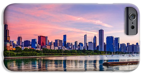 Chicago iPhone Cases - Panorama of Chicago Skyline from Shedd Aquarium - Chicago Illinois iPhone Case by Silvio Ligutti