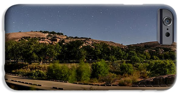 Constellations iPhone Cases - Panorama of Enchanted Rock at Night - Starry Night Texas Hill Country Fredericksburg Llano iPhone Case by Silvio Ligutti