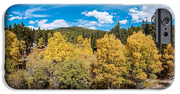Fall iPhone Cases - Panorama of Fall Foliage Aspens in Colorado - Arapaho National Forest - Peak To Peak Highway iPhone Case by Silvio Ligutti