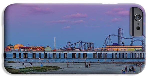 Ocean Sunset iPhone Cases - Panorama of Historic Pleasure Pier with Full Moon Rising in Galveston Island - Texas Gulf Coast iPhone Case by Silvio Ligutti