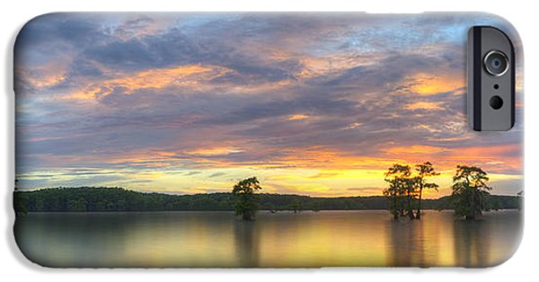 Caddo Lake iPhone Cases - Panorama of Sunset at Caddo Lake 1 iPhone Case by Rob Greebon
