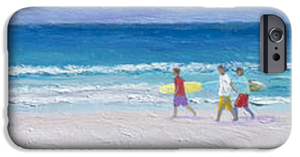 Interior Scene iPhone Cases - Panorama of surfers at Byron Bay iPhone Case by Jan Matson