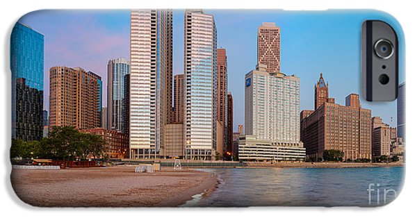 Windy City iPhone Cases - Panorama of the Chicago Skyline from Milton Lee Olive Park at Sunrise - Chicago Illinois iPhone Case by Silvio Ligutti