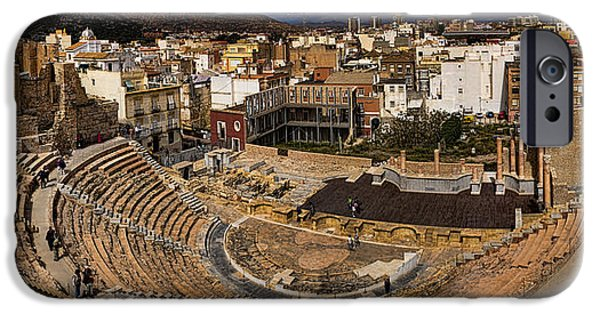 Archaeology iPhone Cases - Panorama of the Roman Forum in Cartagena Spain iPhone Case by David Smith