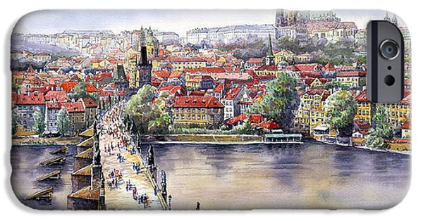 Watercolour iPhone Cases - Panorama with Vltava river Charles Bridge and Prague Castle St Vit iPhone Case by Yuriy  Shevchuk
