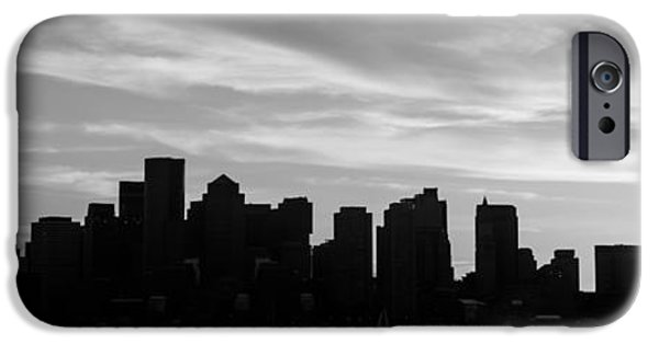 City. Boston iPhone Cases - Panoramic Boston Skyline Black and White Photo iPhone Case by Paul Velgos