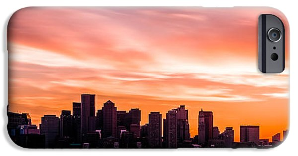 City. Boston iPhone Cases - Panoramic Boston Skyline Sunset Photo iPhone Case by Paul Velgos