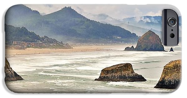 Beach Landscape iPhone Cases - Panoramic Cannon Beach iPhone Case by Scott Cameron