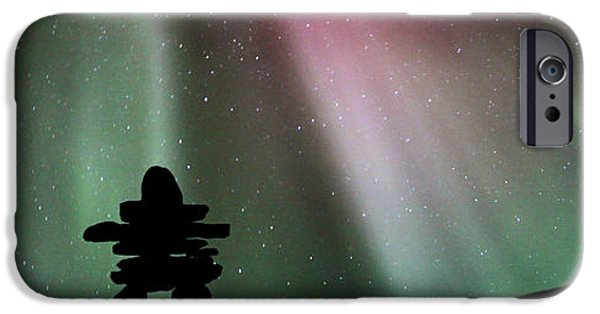 Figures iPhone Cases - Panoramic Inukshuk Northern Lights iPhone Case by Mark Duffy