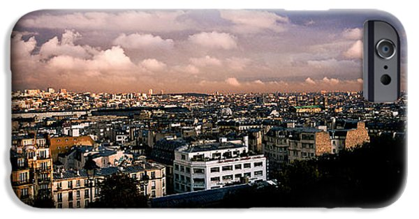 Panoramic Pyrography iPhone Cases - Panoramic Paris Sky.  iPhone Case by Cyril Jayant