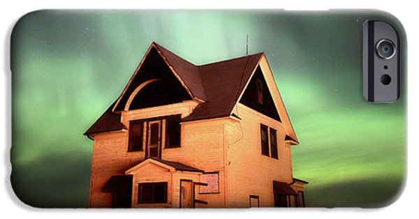 Surrealism Digital Art iPhone Cases - Panoramic Prairie Northern Lights and House iPhone Case by Mark Duffy