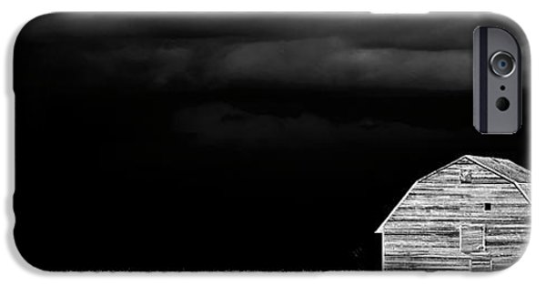 Electrical iPhone Cases - Panoramic Prairie Storm and Barn iPhone Case by Mark Duffy