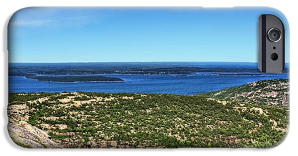 Maine iPhone Cases - Panoramic View from the Top iPhone Case by John Trommer
