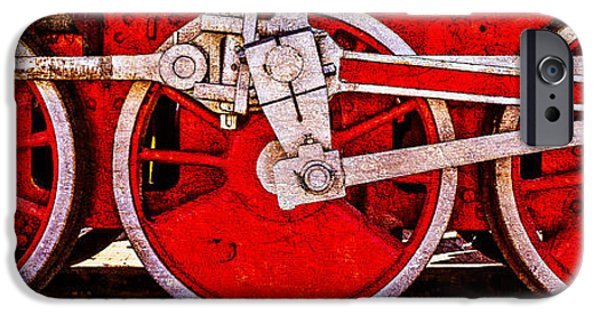 Machinery iPhone Cases - Panoramic Vintage Steam Train Wheels iPhone Case by Alexander Senin