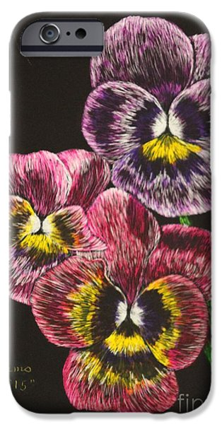 Black And White Reliefs iPhone Cases - Pansy Bouquet iPhone Case by Louise Williams