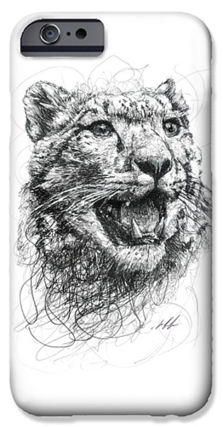 Cat Drawing Drawings iPhone Cases - Leopard iPhone Case by Michael  Volpicelli