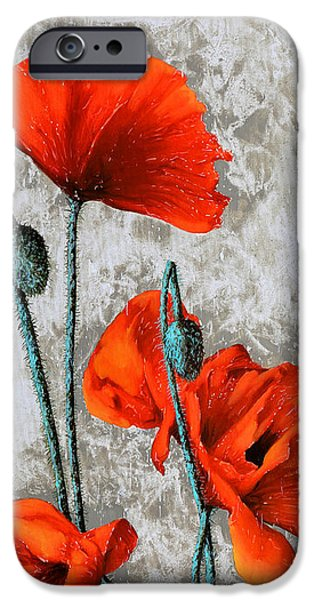 Poppies iPhone Cases - Papaveri Verticali iPhone Case by Guido Borelli