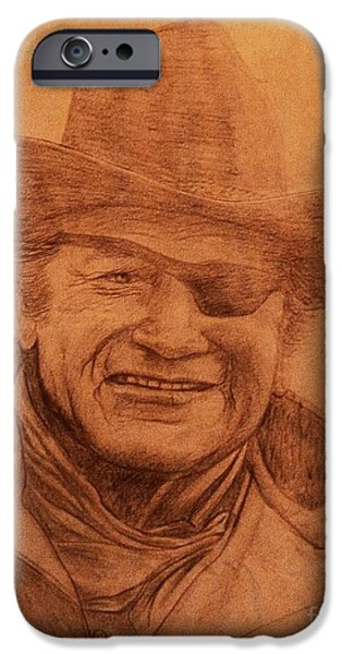 True Grit Drawings iPhone Cases - Papaws Rooster iPhone Case by Dale Crum