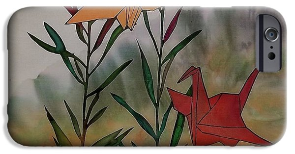Birds Tapestries - Textiles iPhone Cases - Paper Cranes 1 iPhone Case by Carolyn Doe