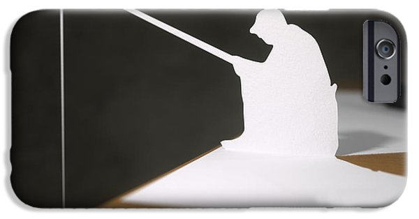 Thinking Sculptures iPhone Cases - Paper fisherman fishing from desk iPhone Case by Richard Seanor
