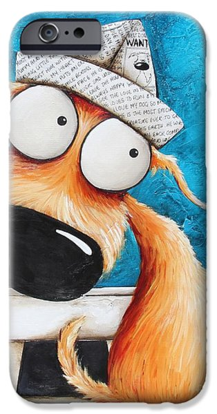 Dogs iPhone Cases - Paper hat iPhone Case by Lucia Stewart