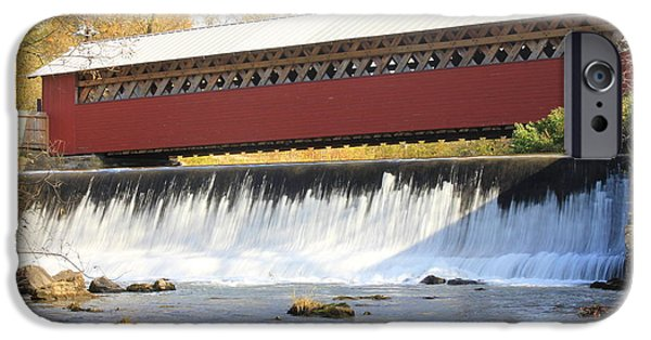Covered Bridge iPhone Cases - Paper Mill Covered Bridge and Falls Bennington VT iPhone Case by John Burk