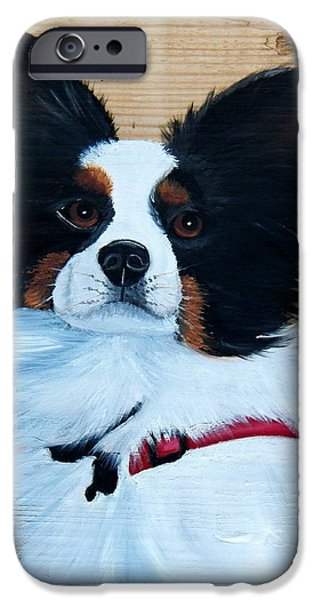 Dogs iPhone Cases - Papillon Dog on Wood iPhone Case by Debbie LaFrance