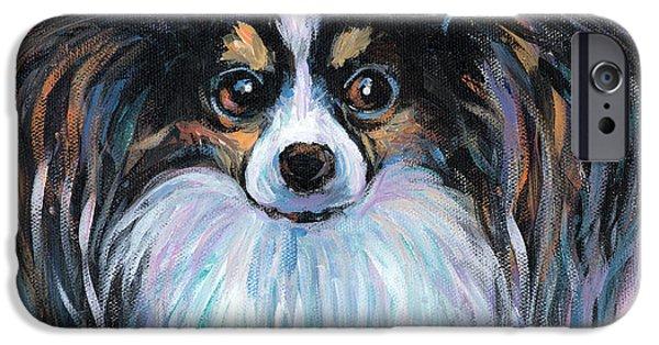 Dog Breed iPhone Cases - Papillon dog painting iPhone Case by Svetlana Novikova