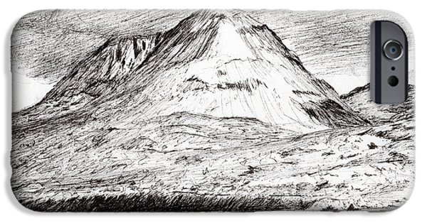 Mounds Drawings iPhone Cases - Paps of Jura iPhone Case by Vincent Alexander Booth
