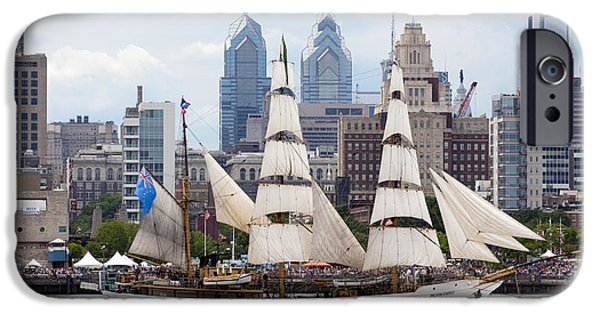 Sailboats iPhone Cases - Parade of Sails -  Philadelphia iPhone Case by Anthony Totah