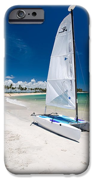 Sail Boat iPhone Cases - Paradise Island iPhone Case by Sebastian Musial