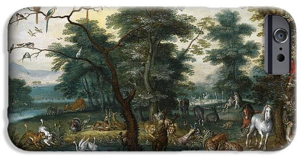 Young Turkey iPhone Cases - Paradise landscape with the Fall iPhone Case by Jan Brueghel the Younger