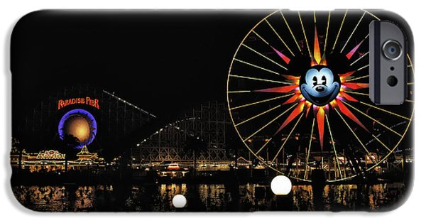 Snow iPhone Cases - Paradise Pier and Mickeys Fun Wheel iPhone Case by Peter Dang