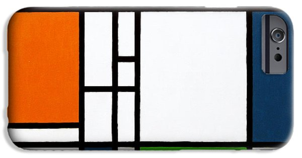 Neo-plasticism iPhone Cases - Parallel Lines Composition with Blue Green and Orange in Opposition iPhone Case by Oliver Johnston
