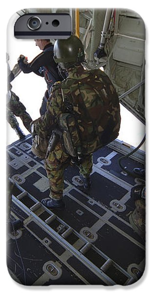 Paratroopers Jump From A C-130 Hercules iPhone Case by Andrew Chittock